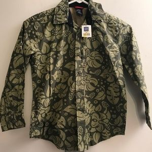 New GAP Green Floral Button Down Shirt Boy Sz 5/6